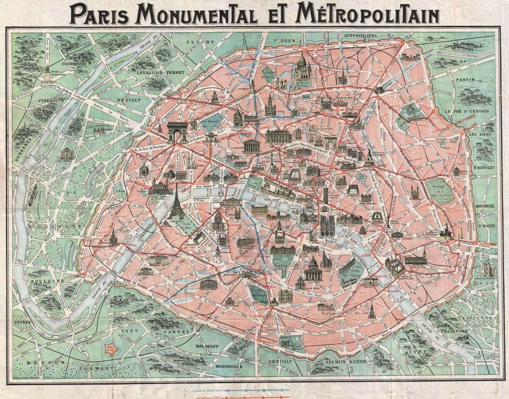 1932 Nouveau Paris Monumental map