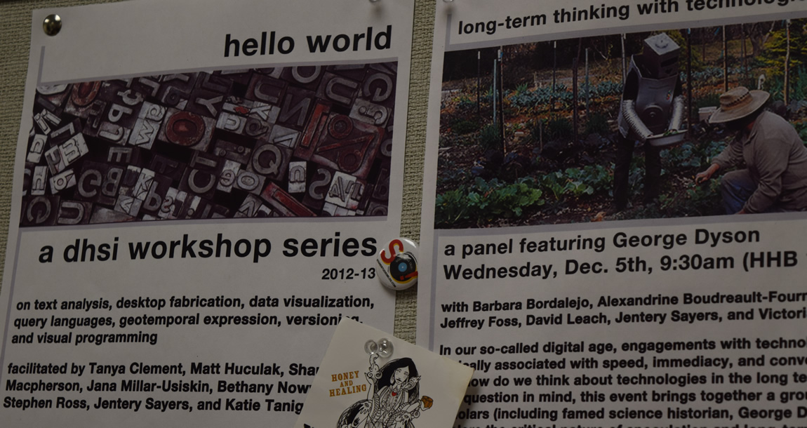 "In the MLab, posters for the ""Hello World"" workshops"