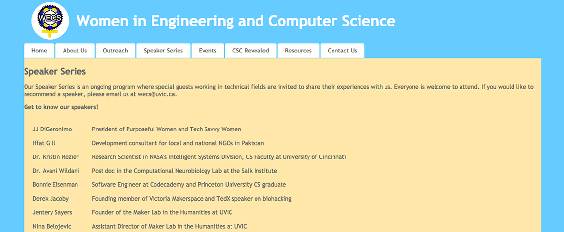 Screen grab of the WECS website at UVic