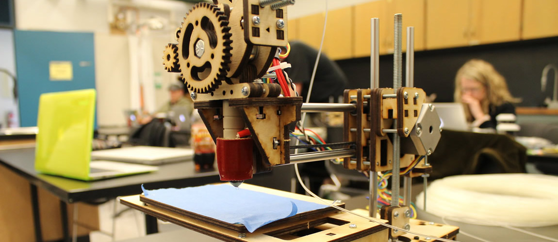 A 3D printer built by students during DHSI 2013
